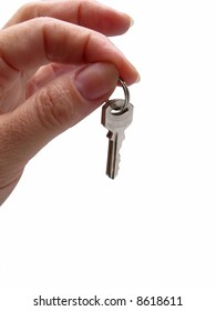 keys in  female hand on  white background,  close up