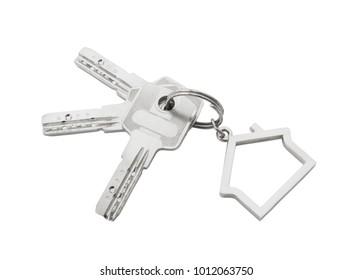 Keys with keys holder isolated on white background