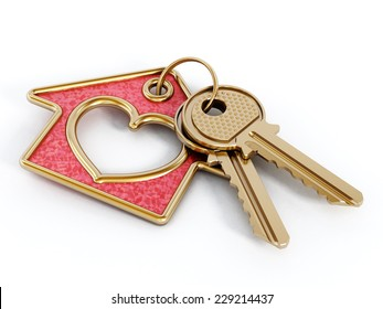 Keys and house pendant with heart shape isolated on white background.