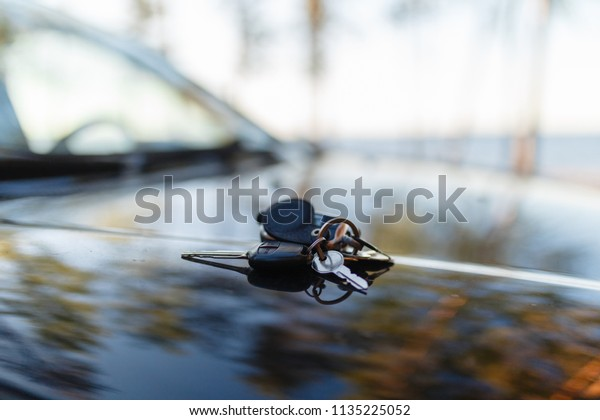 Keys Immobilizer On Hood Car Against Stock Photo (Edit Now