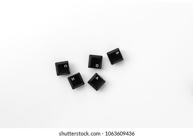 Keys of keyboard with text chaos Isolated on white background Isolate Black buttons of keyboard key Letter keys of computer PC  Input information to the internet and transformation to the binary code