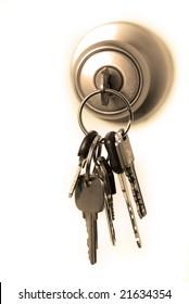 Keys Lock Hanging Door Knob Stock Photo 74319568 - Shutterstock