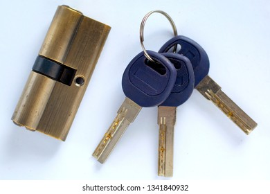 keys to the lock on a white background