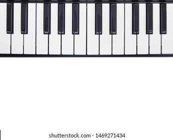 keys on piano keyboard. musical instrument with black and white keys.