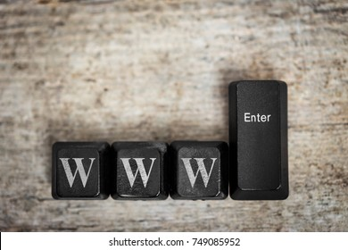 keys on a wooden table with the word www, concept world wide web, internet