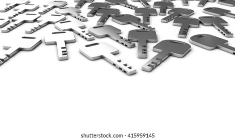 A Lot of keys placed on white background with space, 3d illustration.