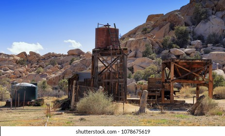 The Keys Ranch in Joshua Tree National Park, with its water tank and wooden structures, has been abandoned since the 1950s.