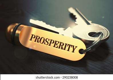 Keys with Word Prosperity on Golden Label over Black Wooden Background. Closeup View, Selective Focus, 3D Render. Toned Image.