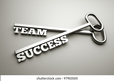 "a keys with words ""team"" and ""success"", business concept"
