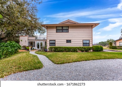 Keystone Heights, Florida / USA - March 13 2020: Rural home with lots of windows and open space
