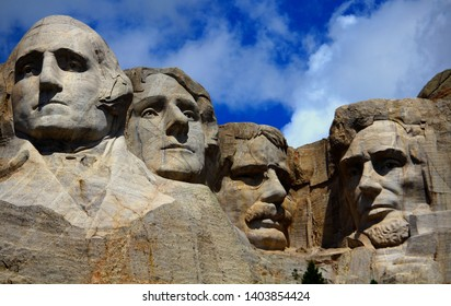 Keystone, SD, USA, 7/9/2018. A Black Hills sculpture by Gutzon Borglum of four presidents — George Washington, Thomas Jefferson,  Teddy Roosevelt and Abraham Lincoln.