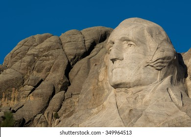 KEYSTONE, SOUTH DAKOTA - OCTOBER 31: George Washington on Mount Rushmore National Memorial on October 31, 2015 near Keystone, South Dakota