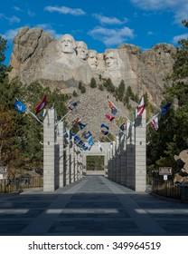 KEYSTONE, SOUTH DAKOTA - OCTOBER 31: Avenue of Flags at Mount Rushmore National Memorial on October 31, 2015 near Keystone, South Dakota