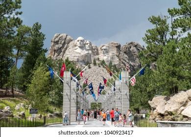 Keystone, South Dakota US - July 28 2017: Mount Rushmore