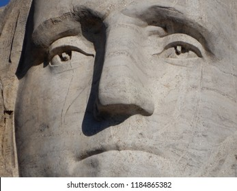 Keystone, South Dakota. U.S.A. September 12, 2018. George Washington sculpture at Mount Rushmore Memorial Park was the first to be started and dedicated to We, the People on July 4, 1934.