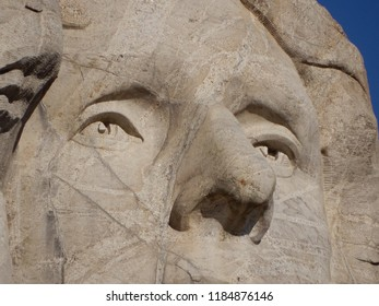 Keystone, South Dakota. U.S.A. September 12, 2018. Thomas Jefferson sculpture at Mount Rushmore Memorial Park was the second to be started and dedicated to We, the People in 1936.