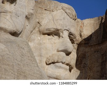 Keystone, South Dakota. U.S.A. September 12, 2018. Teddy Roosevelt sculpture at Mount Rushmore Memorial Park was the fourth to be started and dedicated to We, the People on July 2, 1939.