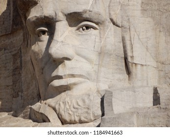 Keystone, South Dakota. U.S.A. September 12, 2018. Abraham Lincoln sculpture at Mount Rushmore Memorial Park was the third to be started and dedicated to We, the People on September 17, 1937.