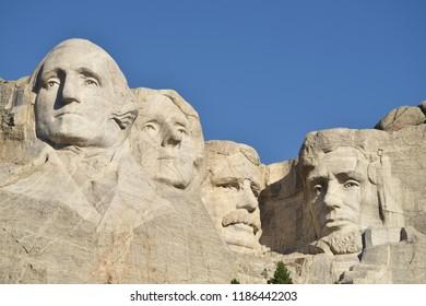 Keystone, South Dakota. U.S.A. September 11-12, 2018.  Mount Rushmore National Memorial.  Four presidents: Washington, Jefferson, Roosevelt and Lincoln