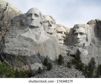 KEYSTONE, SOUTH DAKOTA/U.S.A.-JUNE 21, 2011: Mount Rushmore, American President's memorialized in a massive granite sculpture.