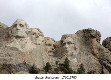 Keystone,South Dakota/U.S.A. - June 21, 2011: Past United States President's memorialized in a massive granite sculpture . The granite sculpture is a national landmark, 'Mount Rushmore'.