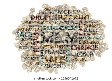 Keyword compilation on MLM, multi-level marketing - cut-out words from piles of golden split stones