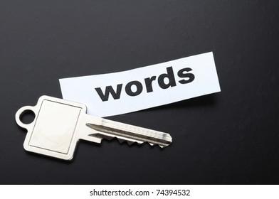 keyword key words seo or metadata concept showing internet data search