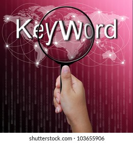 Keyword, word in Magnifying glass,network background