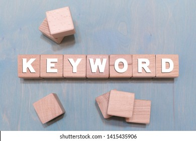 Keyword word on a wooden blocks. Keywords Research Web SEO background concept.