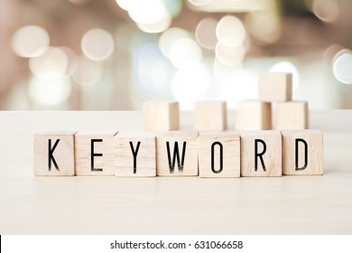 Keyword word on wooden cubes background, SEO concept