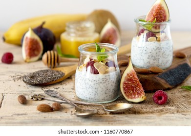 Keywords have spelling errors, click red keywords to correct. Useful breakfasts with chia seeds. Chia-pudding for vegans, vegetarians, healthy lifestyles. Seeds of chia in yogurt with raspberries, fig
