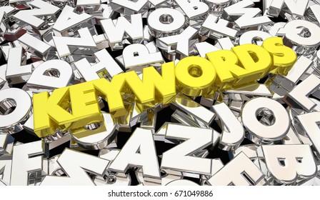 Keywords Letters Descriptive Search Results 3d Illustration