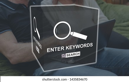 Keywords search concept illustrated by a picture on background