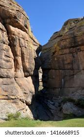 Kezhege Mount - sacral ancestral place of Soyan Family. Rocks look like kissing people. Tuva (Tyva, Tyva Republic), Siberia, Russia, Asia.