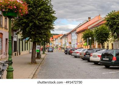 KEZMAROK, SLOVAKIA - SEP 26, 2016: Architecture of Kezmarok, Slovakia, a small town in Spis region, Poprad river.