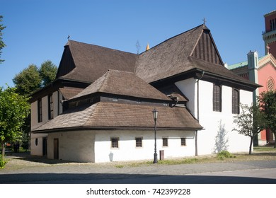 KEZMAROK, SLOVAKIA - SEPTEMBER 8: Wooden articular church in Kezmarok on September 8, 2017 in Kezmarok, Slovakia. The Protestant church was built in 1688 entirely of wood.
