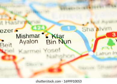 Kfar Bin Nun on a geographical map of Israel