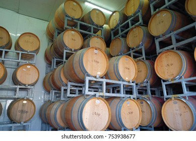 KFAR TIKVA, ISRAEL - APRIL 27, 2017: Wine in barrels is waiting for appropriate condition, being an important stage of production cycle at Tulip Winery, located at Village of Hope (Kfar Tikva).
