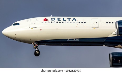 Kfar Truman, Israel - October 28, 2017: Delta Airbus A330-302 passenger plane lands at sunset at Ben Gurion Airport