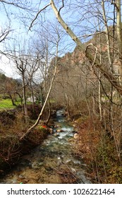 Kfarhalda, Mount Lebanon / Lebanon 02 14 2018: One of Lebanon's most recognized hiking and outdoor area in the Village of Kfarhalda in Mount Lebanon, famous with its water fall and stunning nature