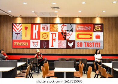 Saraburi​-Thailand​,16/01/2020​: KFC fast food restaurant. Kentucky Fried Chicken (KFC) is the world's second largest restaurant chain with almost 20,000 locations globally.