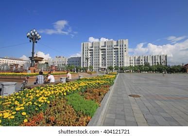 KHABAROVSK, RUSSIA - AUGUST 16, 2013: Khabarovsk Krai Government Office on the Lenin square