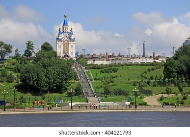 KHABAROVSK, RUSSIA - AUGUST 16, 2013: The Dormition Cathedral near  the Amur River embankment