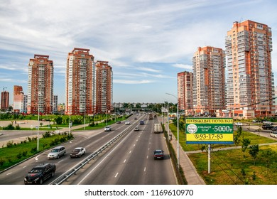 KHABAROVSK, RUSSIA - AUGUST 22, 2018: view of new construction projects in Industrialny City District, located in Khabarovsk, Far East of Russia.