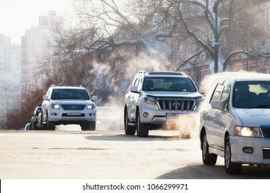 KHABAROVSK, RUSSIA - DECEMBER 16, 2017: Cars on a crossroad in winter city