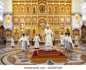 Khabarovsk, Russia - January 19, 2018: Divine liturgy in the Russian Orthodox church. Transfiguration Cathedral . Khabarovsk, far East, Russia.