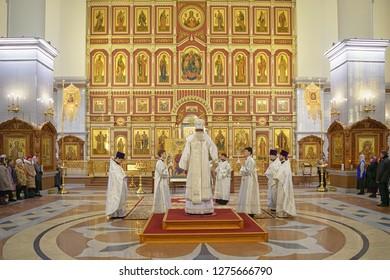 Khabarovsk, Russia - January 19, 2018:  Festive liturgy in the Russian Orthodox church. Transfiguration Cathedral . Khabarovsk, far East, Russia.