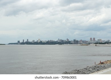 KHABAROVSK, RUSSIA - JULY, 23 2017: View of the Khabarovsk on the river Amur.