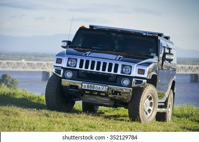 KHABAROVSK, RUSSIA - June 13, 2014: the car Hummer is off-road