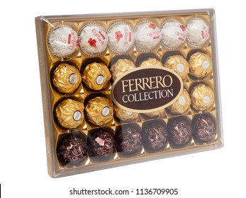 KHABAROVSK, RUSSIA - JUNE 28, 2018: Big plastic Box of sweets Ferrero collection. Rafaello, Rocher